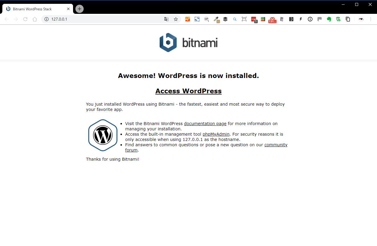 bitnami WordPress ブラウザ初期画面