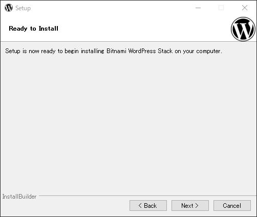 bitnami インストール確認画面