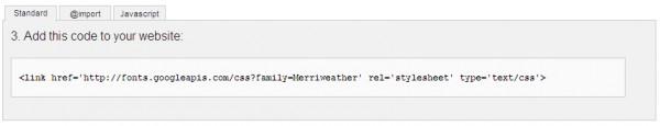 Google Fonts コードコピー