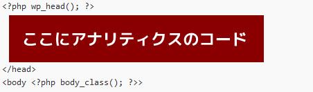 header.phpにアナリティクスコード挿入
