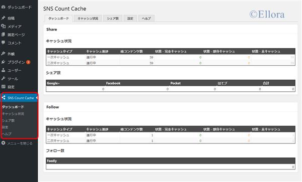 SNS Count Cache 設定画面(ダッシュボード)
