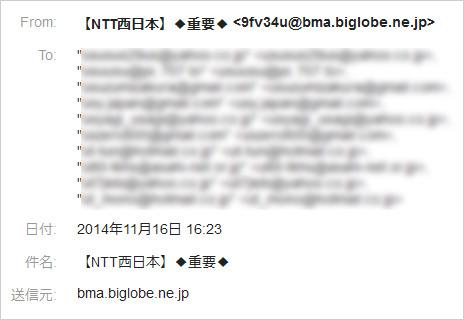 NTT西日本フィッシングメールのあて先一覧