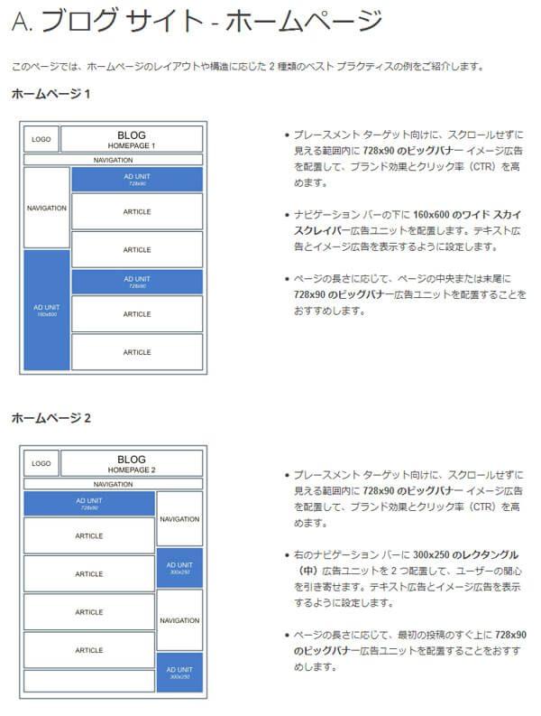 アドセンス配置例(ホームページ)