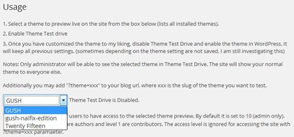 Theme Test Drive 設定画面に新しいテーマが追加