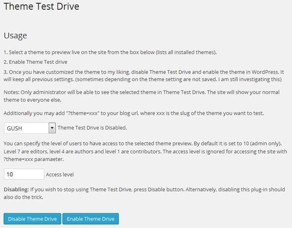 Theme Test Drive 設定画面