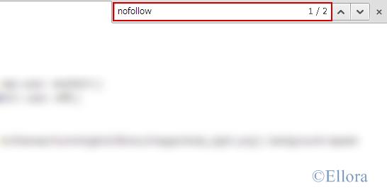 ブログのソースで「nofollow」を検索したところ2件見つかった