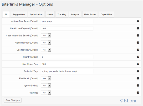 Interlinks Manager Options