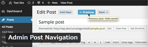 Admin Post Navigation