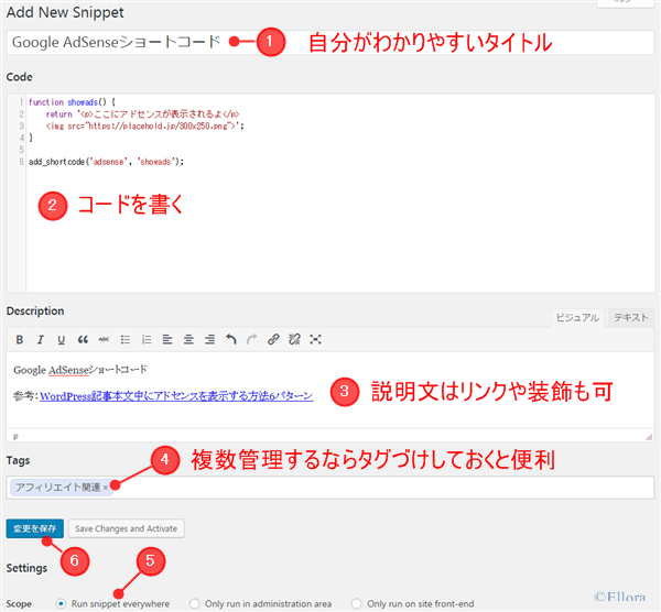 Code Snippetsにコードを追加する