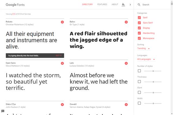 Google Fonts 公式サイト