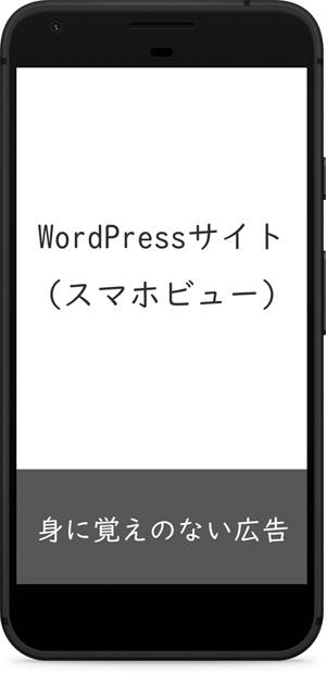 広告が強制表示されたWordPressサイト