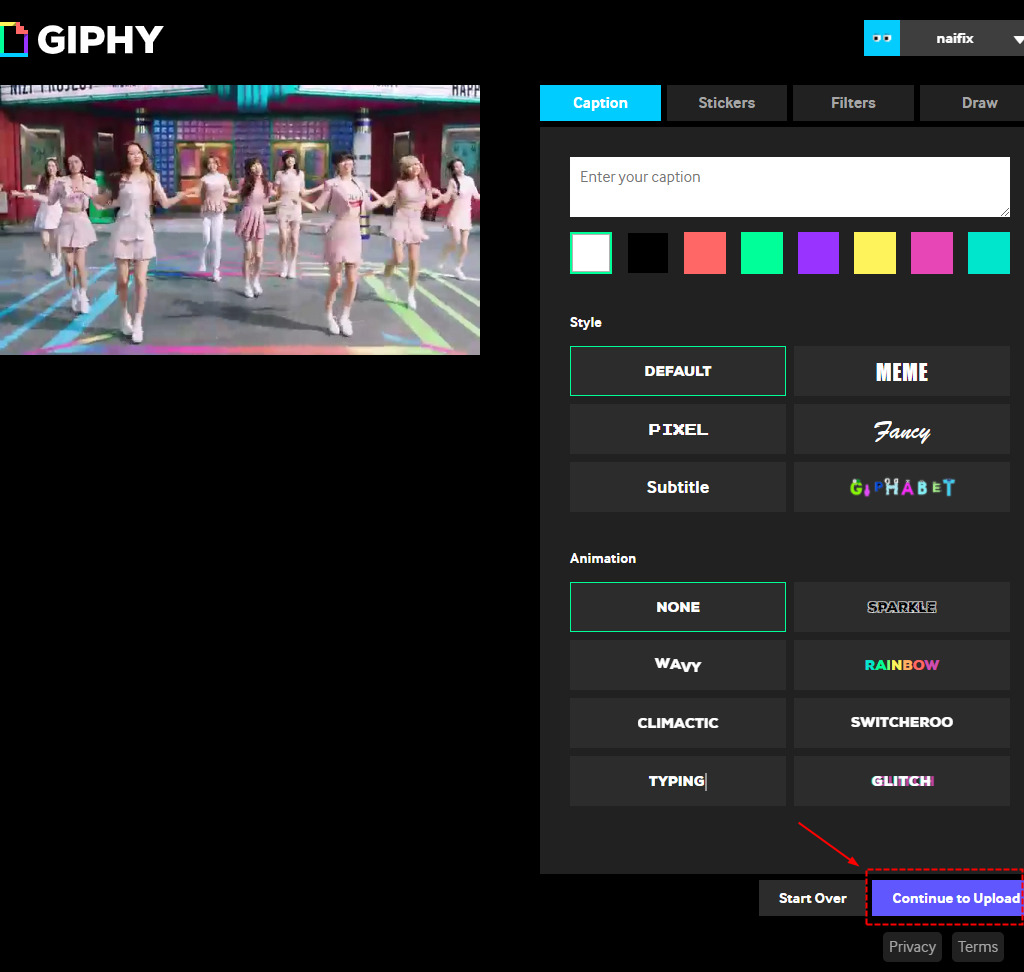 Giphy 加工画面