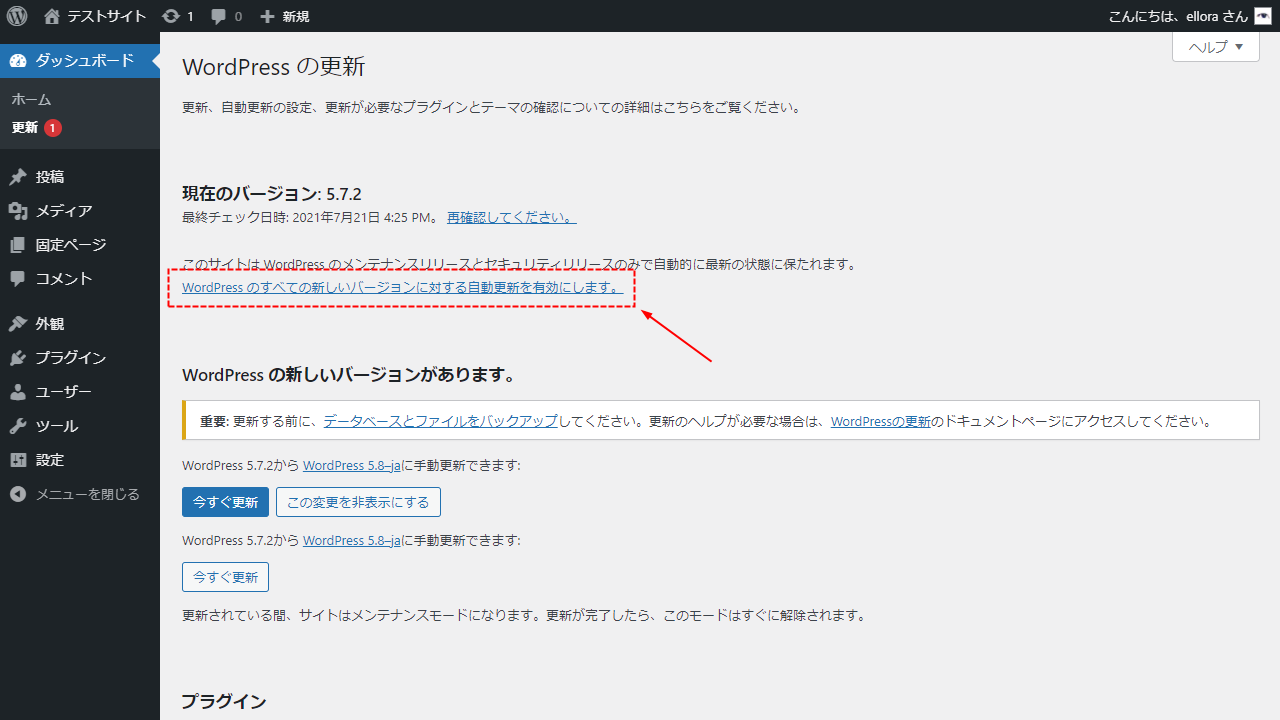 WordPress自動アップデート設定リンク