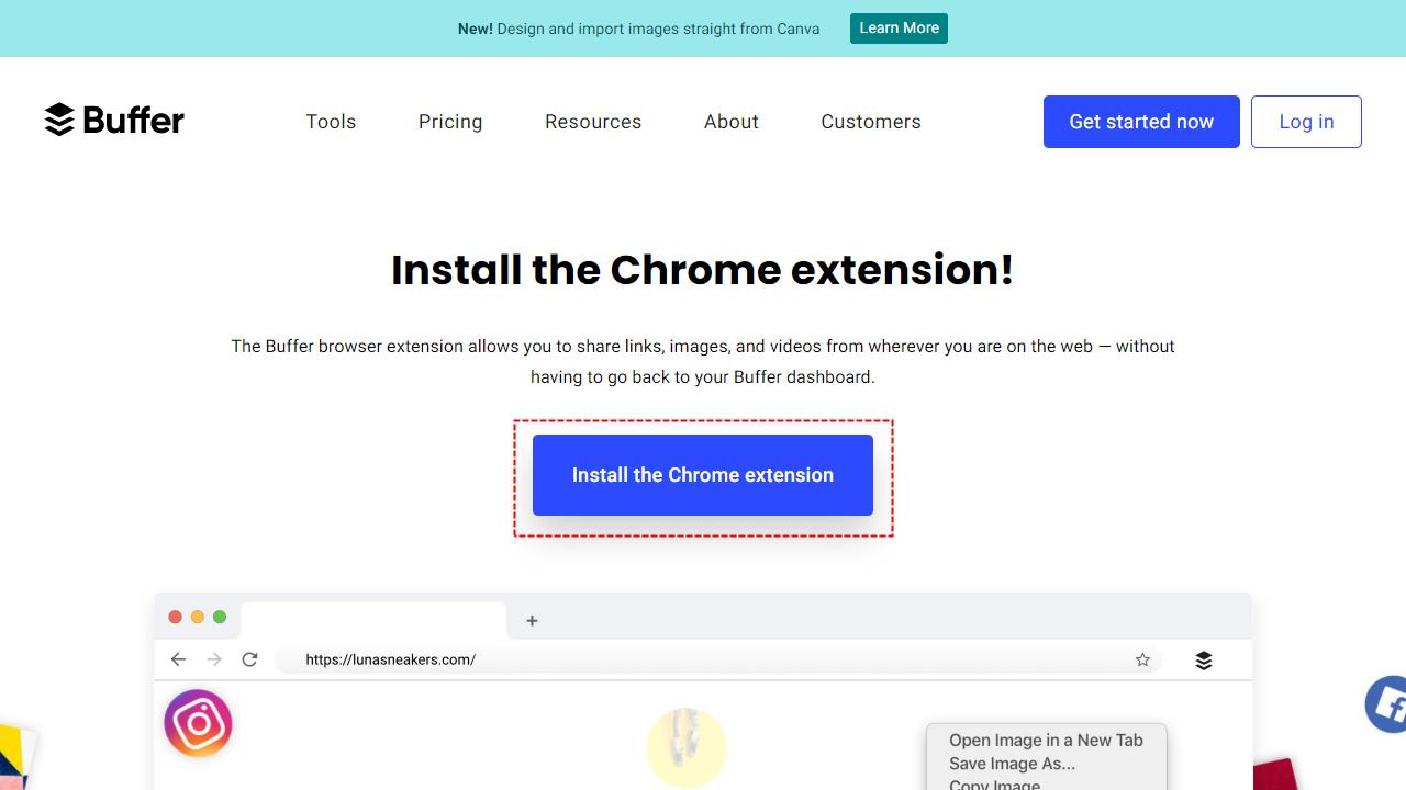 Bufferブラウザ拡張機能インストール画面