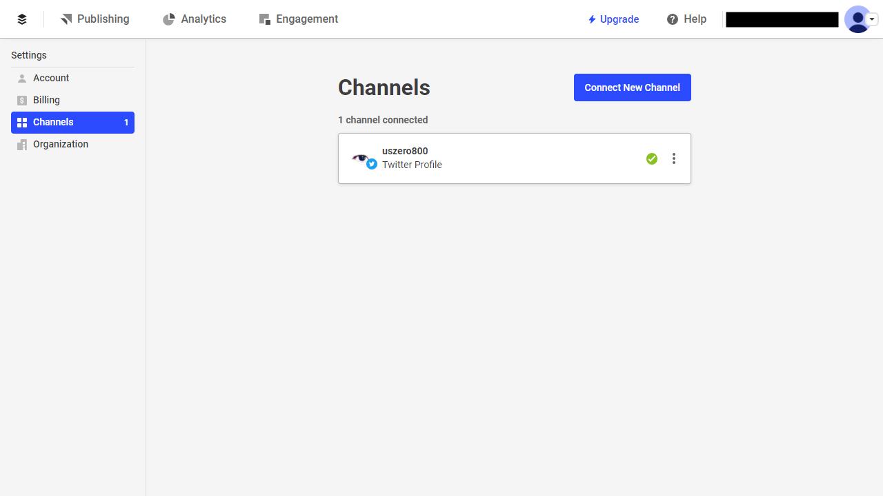 Bufferチャンネル画面